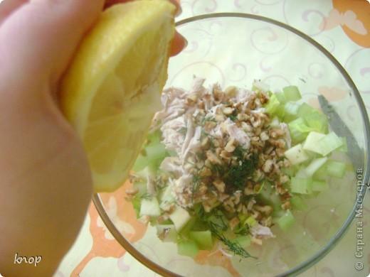 """""""Мы то,что мы едим"""" наверняка слышали и не один раз? так вот мне надоело быть картофелем фри с жареным мясом. пусть я лучше буду полезным и вкусным салатом))) если Вы со мной, то Вам понадобится: зеленое яблоко  стебли сельдерея отварное филе курочки( можно гриль) грецкий орех зелень лимон и оливковое масло для заправки(можно подсолнечное рафинированное)   фото 4"""