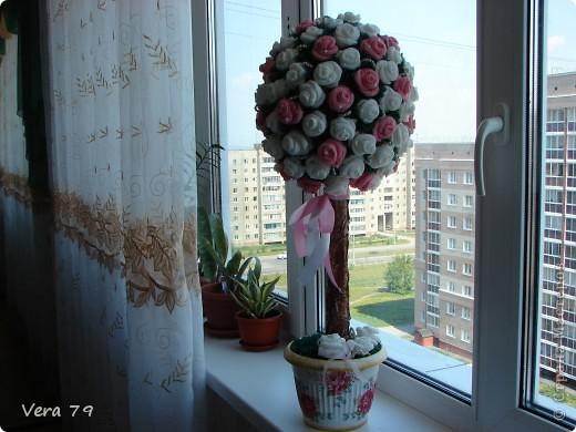 Мой самый первый простенький топиарчик.Сделала в дополнении к набору ваз для кумы.Прошу прощения за ствол у топиара,его я скопировала у кого-то у девочек с сайта,у кого не помню,но мне он очень понравился. фото 1
