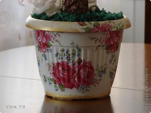 Мой самый первый простенький топиарчик.Сделала в дополнении к набору ваз для кумы.Прошу прощения за ствол у топиара,его я скопировала у кого-то у девочек с сайта,у кого не помню,но мне он очень понравился. фото 3
