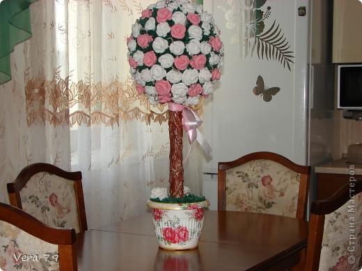 Мой самый первый простенький топиарчик.Сделала в дополнении к набору ваз для кумы.Прошу прощения за ствол у топиара,его я скопировала у кого-то у девочек с сайта,у кого не помню,но мне он очень понравился. фото 4