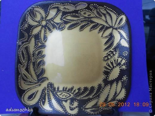 такую тарелочку я подсмотрела у одной из мастериц из сообщества точечной росписи. фото 1