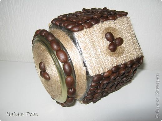 Добрый день дорогие жители страны мастеров. Вот так я украсило обычную баночку. ЕЕ можно использовать как баночку для кофе, либо сыпучих. фото 2