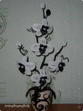 """История создания этой орхидеи для меня была очень неожиданной. Родилась у меня 23 мая двоюродная сестра. Ах, какое это необычное чувство - рождение сестренки, когда уже давно нянчишь племянников и думаешь о возможности появления в скором будущем собственных детей!... Подарок молодым родителям захотелось сделать своими руками - чтобы для них это тоже стало неожиданностью))) Надо сказать интерьер у них ооочень стильный, тщательно подобранный в мелких деталях, боялась браться за дело. Вдруг не впишется моя композиция?! Посоветовалась с мамой, на что она предложила сделать что-то вроде моего дерева """"инь-янь"""", будет точно кстати. Поразмыслив и решив, что все же хочу подарить цветы придумала вот такую орхидейку... P.S. За образец цветка взяла работу Ирины из Орла: http://stranamasterov.ru/node/346120?c=favorite фото 7"""