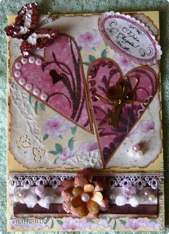 Попросили меня сделать открыточку на свадьбу...очень волнуюсь как получилась, ведь на заказ еще никогда ничего не делала...идею сердечек взяла вот тут: http://stranamasterov.ru/node/223926?c=favorite ...конечно, мне далеко до образца.... фото 2