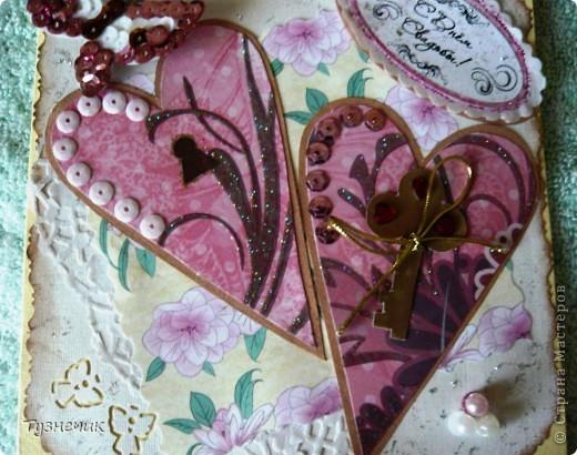 Попросили меня сделать открыточку на свадьбу...очень волнуюсь как получилась, ведь на заказ еще никогда ничего не делала...идею сердечек взяла вот тут: http://stranamasterov.ru/node/223926?c=favorite ...конечно, мне далеко до образца.... фото 5