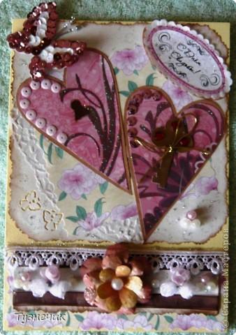 Попросили меня сделать открыточку на свадьбу...очень волнуюсь как получилась, ведь на заказ еще никогда ничего не делала...идею сердечек взяла вот тут: http://stranamasterov.ru/node/223926?c=favorite ...конечно, мне далеко до образца.... фото 7