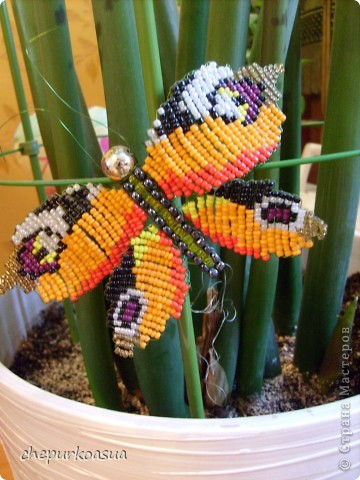 Эта моя самая любимая бабочка. Я сплела её по собственно придуманной схеме. Эта бабочка украшает мамин любимый цветок. фото 2