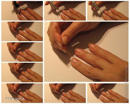 Хочу показать вам свой вариант росписи ногтей, навеянный французским маникюром. Мне очень нравится французский маникюр, но если сделать его недостаточно аккуратно, то уж лучше просто покрыть ногти однотонным лаком. А на кропотливое выведение полосочек у меня, к сожалению, нет времени, точнее мне жалко тратить свое время на этот процесс.  фото 7