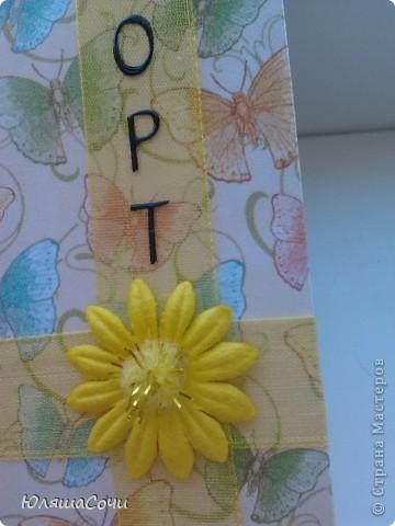 моя первая обложечка на паспорт.  бумага очень красивая, старалась не испортить её красоту украшениями. буквы специально сделала черными, все же документ. а так старалась, чтобы вышщло нежно и воздушно, пархало как бабочки) фото 2