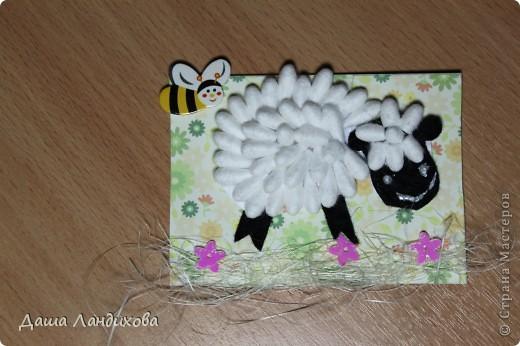 """Как то давно на просторах интернета нашла мастер класс по изготовлению держателя для фотографий в виде овечки из ватных палочек, мысль сотворить что то подобное крепко засела в голове и вот появилась такая вот серия. А название - помните песенку из мультика про псов-мушкетеров: """"Мы бедны овечки, никто нас не пасет..."""" В общем мои овечки ждут своих пастушек или пастухов. фото 4"""