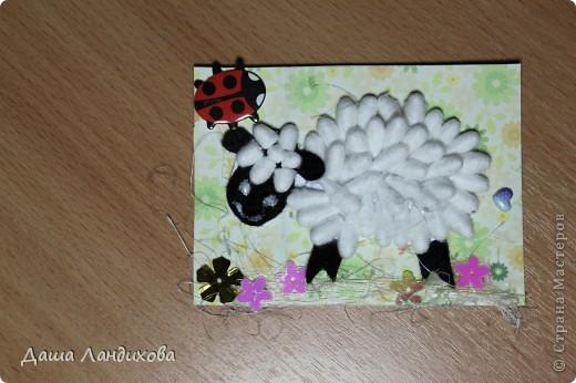 """Как то давно на просторах интернета нашла мастер класс по изготовлению держателя для фотографий в виде овечки из ватных палочек, мысль сотворить что то подобное крепко засела в голове и вот появилась такая вот серия. А название - помните песенку из мультика про псов-мушкетеров: """"Мы бедны овечки, никто нас не пасет..."""" В общем мои овечки ждут своих пастушек или пастухов. фото 6"""