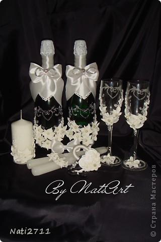 Здравствуйте, дорогие жители Страны Мастеров! Заказали у меня бокальчики (выкладывала их ранее http://stranamasterov.ru/node/352040) и дополнение к ним в виде шампанского, свечей и замочка. И вот что получилось. фото 1