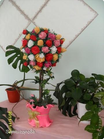 Дерево роз - повторюшка. Используя МК с сайта сделала вот такое дерево из салфеток. фото 1