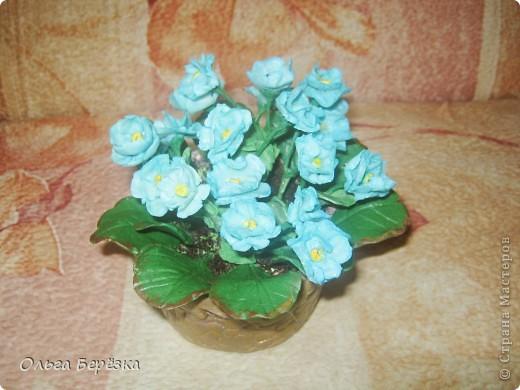 Слепила как то быстро..... Цвет сначала был неприглядный серовато-голубой. очень тусклый (видимо из за картофельного крахмала), хотела выбросить,но потом обнаружила в столе оставшиеся с Пасхи красители,развела синий и обмакнула туда цветочки,вот повеселели...))) фото 2