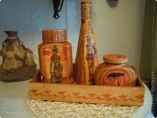 Поднос, 2 баночки кофе+бутылка, все в одной теме....Жаркая Африка фото 1