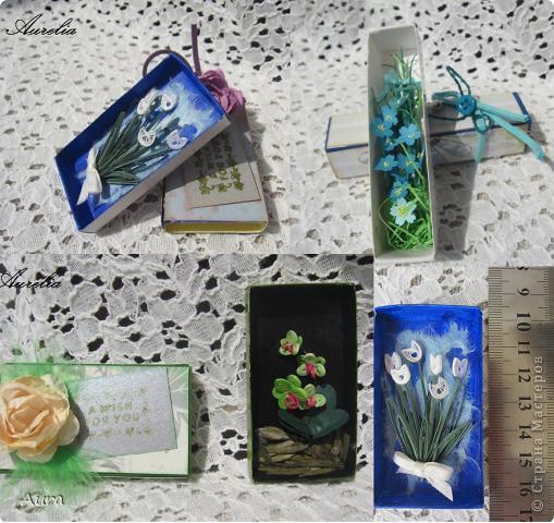 Доброго всем дня! Накрутила я пару миниатюрных букетиков, просто так... Спичечные коробки - вместо рамочек:)) Бумага 1мм, разной плотности. фото 5