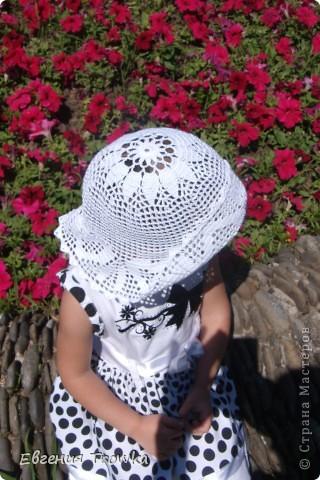 """Связала легкую, воздушную шляпку для дочки. Пряжа """"Успешная"""" мерсериз. хлопок 50гр/220м, крючок №1,5 фото 3"""