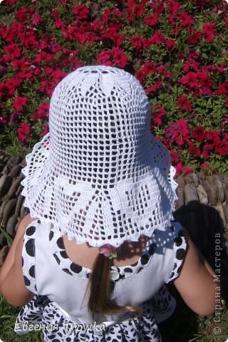 """Связала легкую, воздушную шляпку для дочки. Пряжа """"Успешная"""" мерсериз. хлопок 50гр/220м, крючок №1,5 фото 4"""
