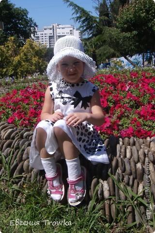 """Связала легкую, воздушную шляпку для дочки. Пряжа """"Успешная"""" мерсериз. хлопок 50гр/220м, крючок №1,5 фото 1"""