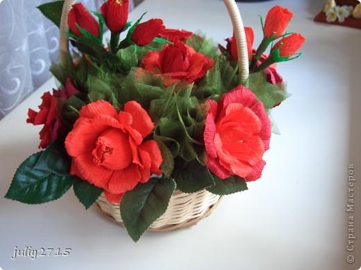 Сделала корзинку в красных тонах, это не потому что люблю красный, просто другого цвета не было. фото 2