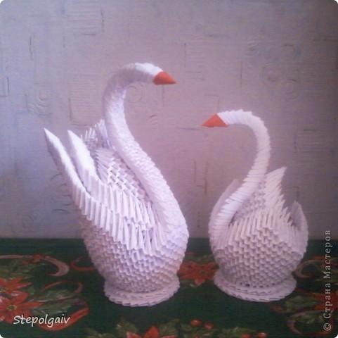 Загорелось мне сделать лебедей из модулей оригами. Но, как это трудно окажется для меня я даже не представляла.  Красиво, но трудновато.Решила больше не делать.  фото 1