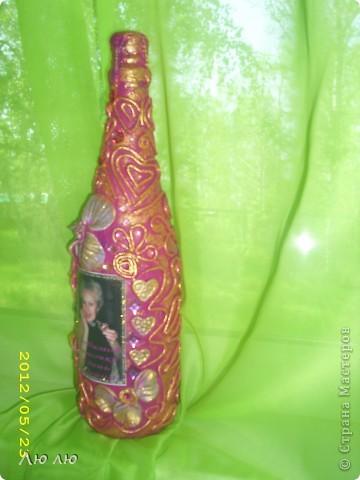 Это розовая бутылочка, с фото и цветами из соленого теста фото 3