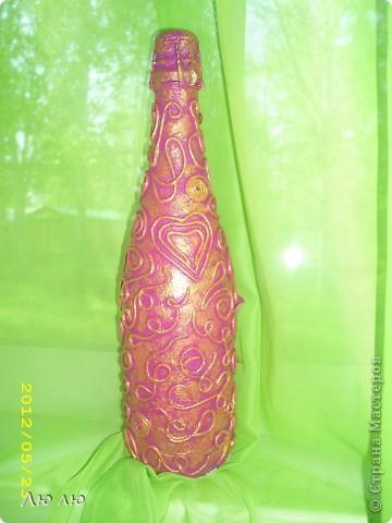 Это розовая бутылочка, с фото и цветами из соленого теста фото 4