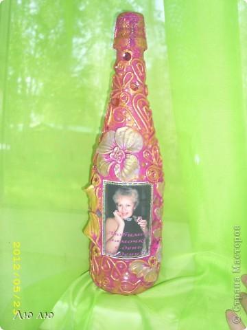 Это розовая бутылочка, с фото и цветами из соленого теста фото 1