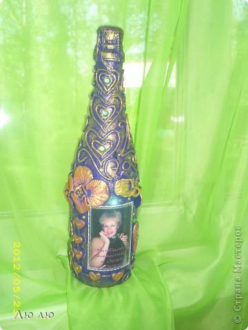 Это розовая бутылочка, с фото и цветами из соленого теста фото 2