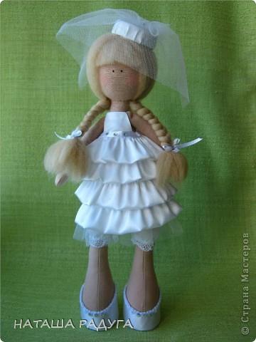 Сшила по своей выкройке( по которой шила куколку в пальтишке) жениха и невесту. фото 2