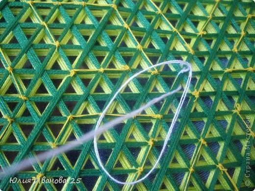 Мастер-класс Плетение Плетеная салфетка на деревянной рамке Нитки фото 20