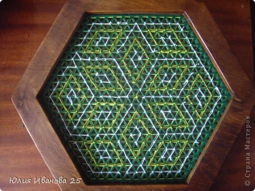 Мастер-класс Плетение Плетеная салфетка на деревянной рамке Нитки фото 22