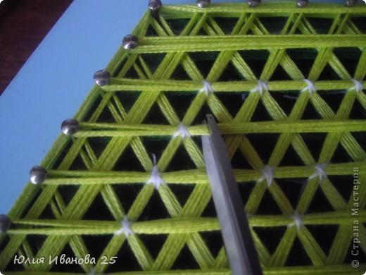 Мастер-класс Плетение Плетеная салфетка на деревянной рамке Нитки фото 23