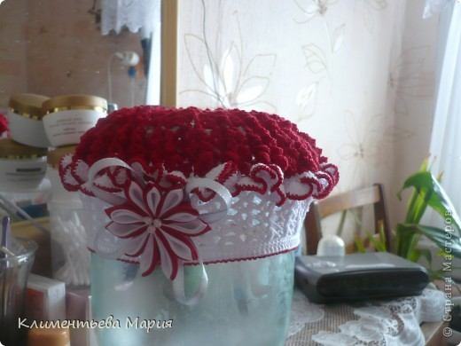 Беретик с цветком канзаши фото 1