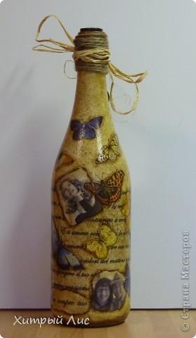 Доброго времени суток, дорогие мастера! Эти бутылки созданы на заказ. Попросили сделать в стиле 40-вых с итальянским оттенком.  А у меня получилось все наоборот! :) фото 5