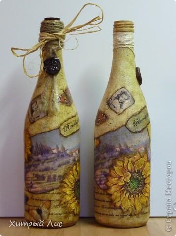 Доброго времени суток, дорогие мастера! Эти бутылки созданы на заказ. Попросили сделать в стиле 40-вых с итальянским оттенком.  А у меня получилось все наоборот! :) фото 2