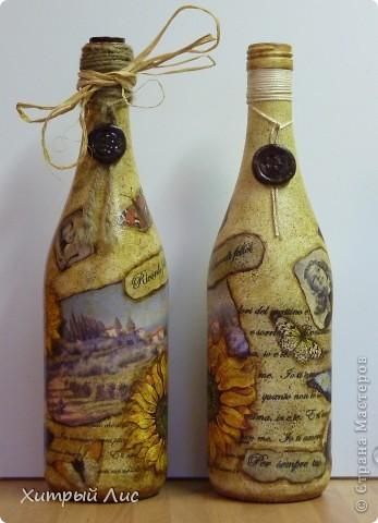 Доброго времени суток, дорогие мастера! Эти бутылки созданы на заказ. Попросили сделать в стиле 40-вых с итальянским оттенком.  А у меня получилось все наоборот! :) фото 6