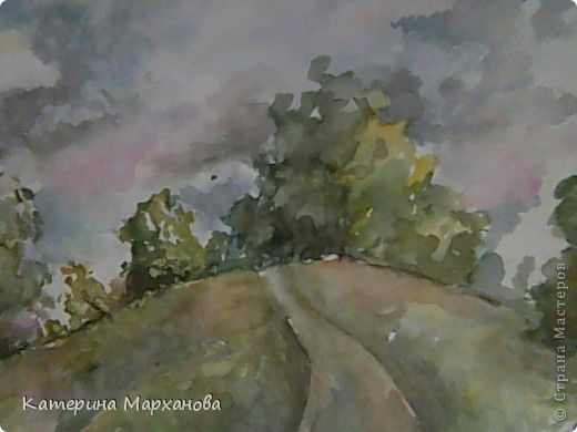 У нас в Альметьевске дождь все льет и льет. Вот и решила нарисовать этюд с грозовыми облаками. фото 1