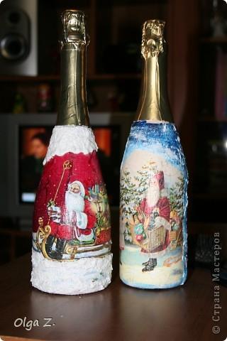 Я делала эти бутылочки в подарок по просьбе невестки на новый 2012 год. Сфоткать забыла (впрочем как и половину своих работ), а эти фотографии сделала уже сама невестка. Сегодня только я их получила на память. В общем, вот вид спереди.... фото 1
