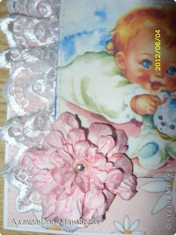 Вот такая открыточка получилась для малышки, которой сегодня исполнилось 1 месяц! Такое знаменательное событие! первый юбилей! фото 3