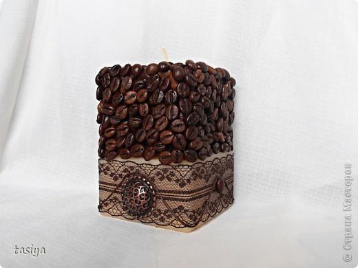 Свеча кофейная. 10х7х7. Аромат кофе и ванили..... мммм вкусняшка)))))))))))) фото 1
