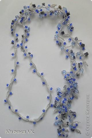 Для создания этого украшения был использован чешский бисер, чешские бусины и сколы лазурита. фото 1