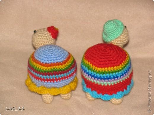Вот такая парочка получилась. Спасибо Люере за МК http://luera-toy.blogspot.com/2012/01/blog-post_26.html. Я немного внесла свои изменения. Ножки связала не 3 ряда как в оригинале, а 7 рядов. И панцирь немного больше рядов. фото 9