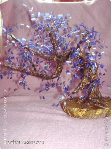 вот сплела еще одно деревце, никак оно не хотело фотографироваться - все фото какие-то смазанные, ну вот несколько из них..... фото 1