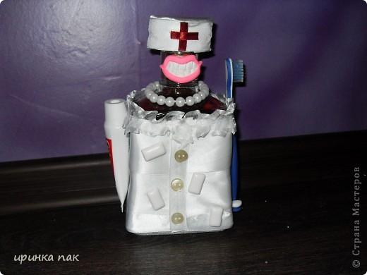 Новый заказ.Попросили сделать что-нибудь стоматологу на День Рождения.Вот какая красавица с белоснежными зубами получилась из бутылки коньяка. фото 1