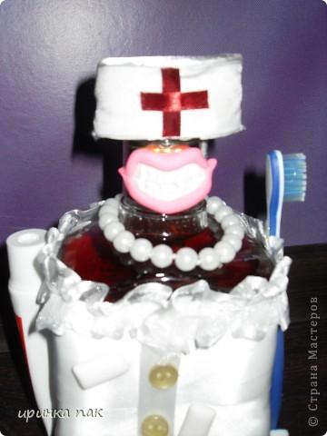 Новый заказ.Попросили сделать что-нибудь стоматологу на День Рождения.Вот какая красавица с белоснежными зубами получилась из бутылки коньяка. фото 4