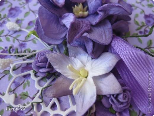 """Вот такое сиренево-фиолетовое Спасибо:)  у меня получилось для хорошего человека. Источником вдохновения послужила """"Нежность"""" от Yulia L (ссылка ниже) Открытка двойная, классического размера. фото 2"""
