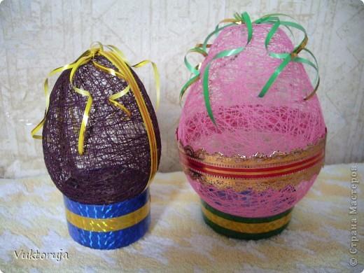 Пасхальные яйца из ниток фото 1