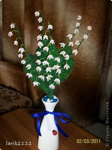 Вот такую нежную и праздничную композицию ландыши из бисера можно сделать своими руками.  Для этого потребуется.