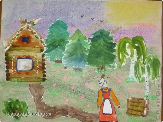 """Рисунок выполнялся моей дочкой, ученицей 1 класса, по сказке """"Волк и семеро козлят"""". Избушка, деревья, сама коза рисовались на отдельных листах (использовалась техника смешивания красок), вырезалось и наклеивалось на заранее подготовленный фон."""